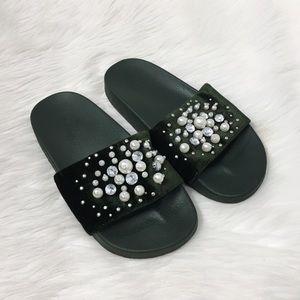 Bebe Green Pearl Rhinestone Slip On Slide Sandal